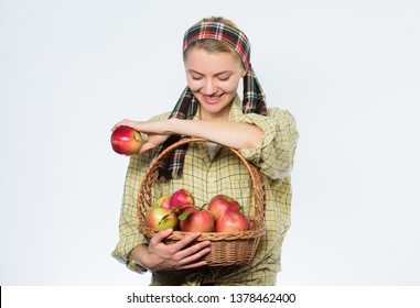 Picking best one. organic vegetarian. healthy teeth. Happy woman eating apple. orchard, gardener girl with apple basket. spring harvest. summer fruit. vitamin and dieting food. Choosing best apples.