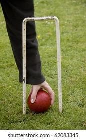 Picking up a croquet ball through hoop