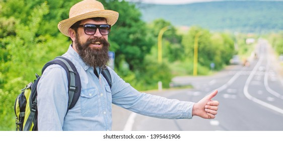Picking up hitchhikers. Stop car. Man try stop car thumb up. Hitchhiking one of cheapest ways traveling. Hitchhikers risk being picked up by someone who is unsafe driver or personally dangerous.