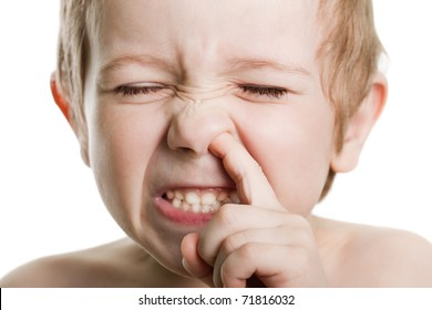 Picking nose fun looking eye cute human child face