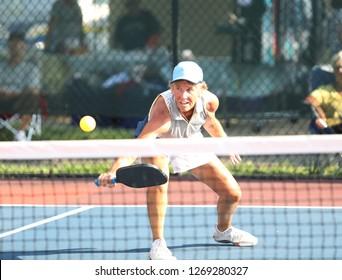 pickleball action during a senior tournament