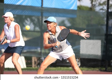 pickleball action from a senior tournament