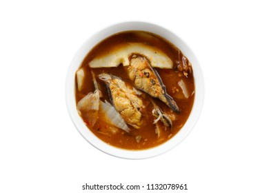 Pickled bamboo shoots with catfish in sour and spicy soup , Thai food isolated on white background