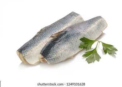 Pickled bismarck hering fish white isolated
