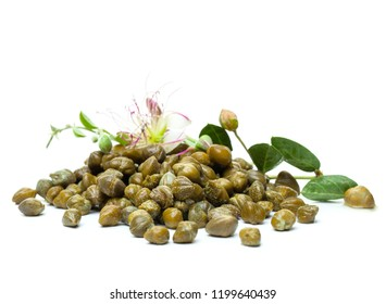 Pickled capers with caper flower on white background