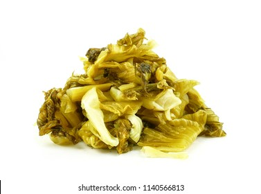 Pickled chinese Mustard Green or Chinese Salted fermented Vegetable. concept food preservation or Keeping food longer