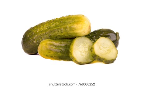 Pickled cucumber isolated on white background. Marinated pickled cucumber isolated. Closeup.