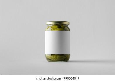 Pickled Cucumber Jar Mock-Up. Blank Label.