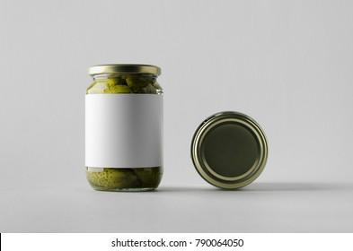 Pickled Cucumber Jar Mock-Up - Two Jars. Blank Label.