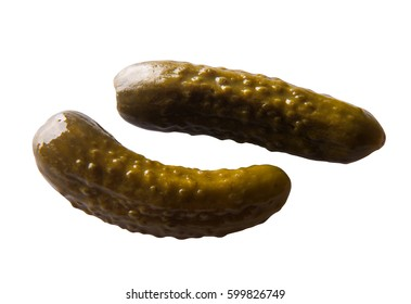 Pickled cucumber on white background