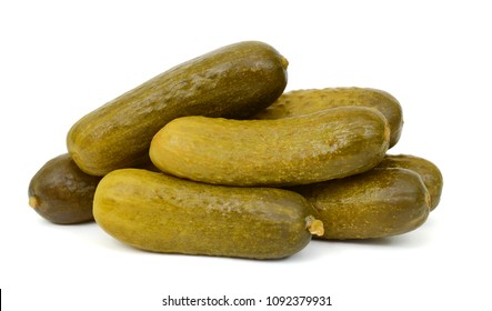 pickled cucumbers isolated white
