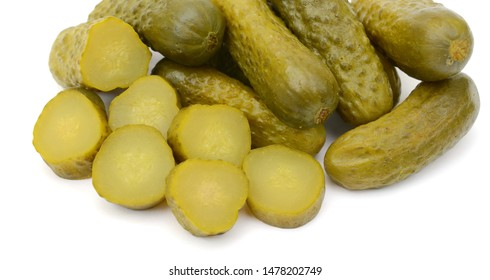 pickled cucumbers isolated white background