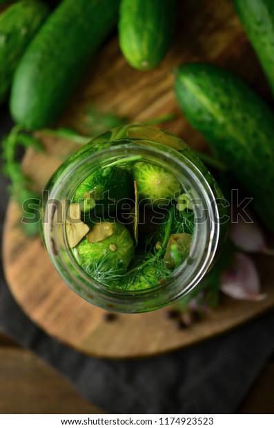 Pickled cucumbers in jars