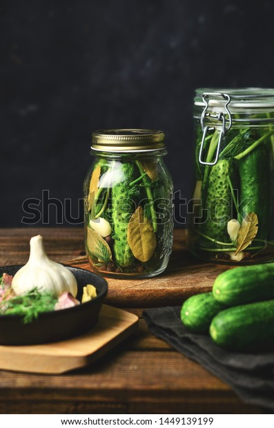 Pickled cucumbers in jars, preserves
