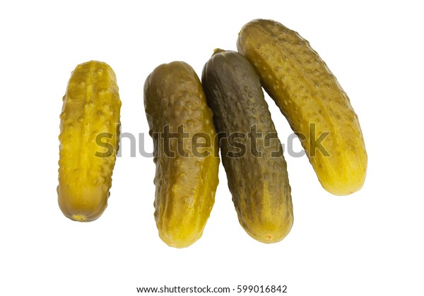 Pickled cucumbers on white isolated background.