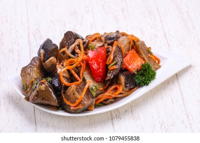 Pickled eggplant with vegetables in the bowl