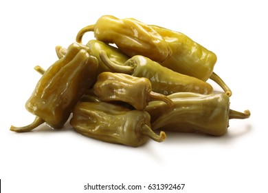 Pickled golden greek peppers, pepperoncini or friggitelli (Tuscan, Stavros, Capsicum annuum). Clipping paths, shadow separated