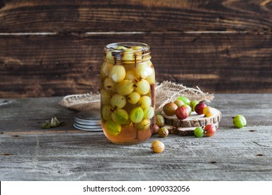 Pickled gooseberries in a jar
