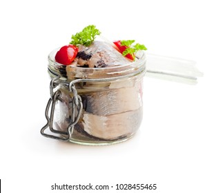 Pickled  herring isolated on white background