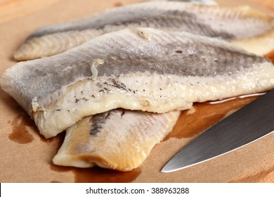 Pickled herring. Salted, soused skinless fillets of fish Clupea.