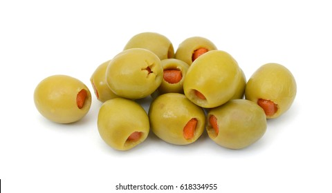 pickled olives isolated on white background