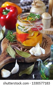 Pickled salad bell pepper and ingredients. Rustic style