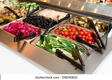 Pickled vegetables on self service restaurant counter