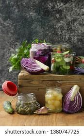 pickled vegetables, probiotic and fermentation