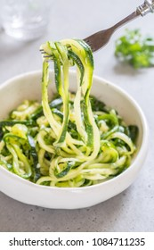 Pickled zucchini noodles with dill, garlic and honey