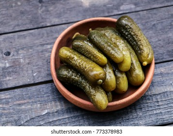 pickles on a wooden table