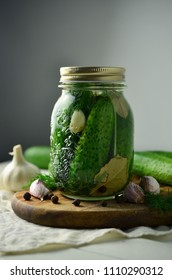 Pickling cucumbers in jar