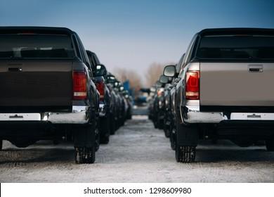 Pickup suv cars at the parking