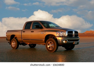 Pickup truck on dry lakebed