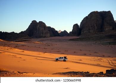 Pickup truck in the Wadi Rum desert, Jordan