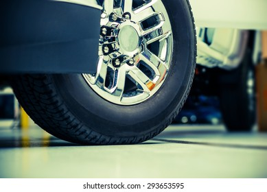 Pickup Truck Wheels and Tires Closeup Photo. Heavy Duty Truck Wheels