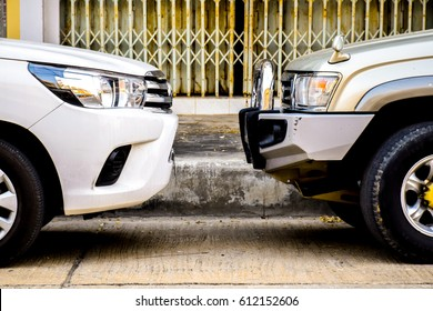 Pickup trucks face-to-face