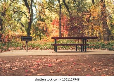 Picnic area in Bidwell Park in Autumn, Chico, California.