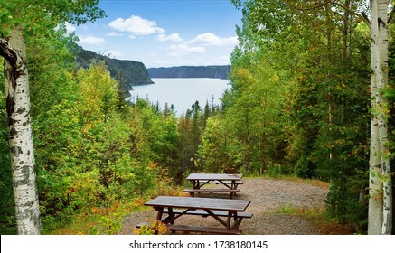 Picnic area in Saguenay Fjord National park with view of the river Saguenay, Québec, Canada.