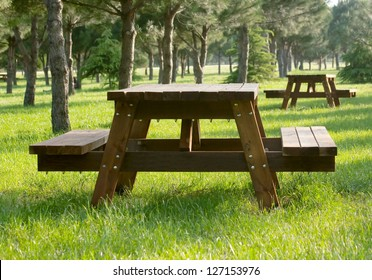 Picnic  area with wooden tables