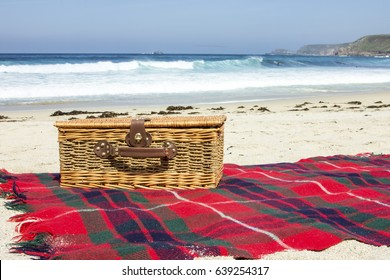 Picnic basket by the seaside