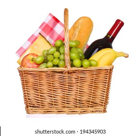 Picnic basket with food isolated