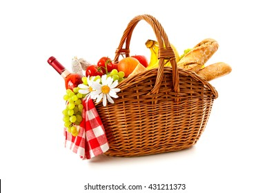 Picnic basket with fruit, bread and wine isolated on white background