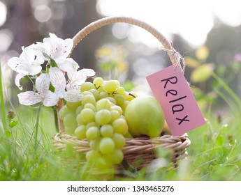 Picnic basket with grapes, apples, concept of relaxation