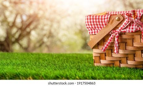 Picnic Basket Grass Garden Concept Holiday Weekend Spring Summer Vacation
