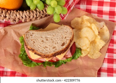 Picnic basket ham and cheese sandwich, top view