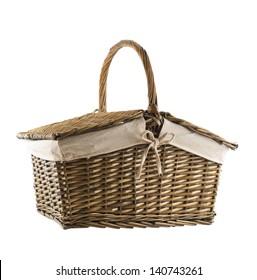 Picnic basket hamper isolated over white background