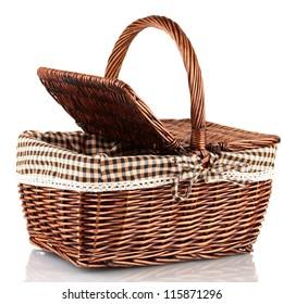 Picnic basket, isolated on white