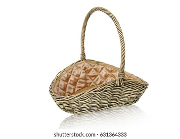 Picnic basket made of rattan  isolated on white background. This has clipping path.