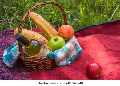 Picnic basket on the red blanket at nature. Apples, white wine and baguettes.