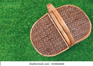 Picnic Basket On The Summer Lawn, Top View, Close Up